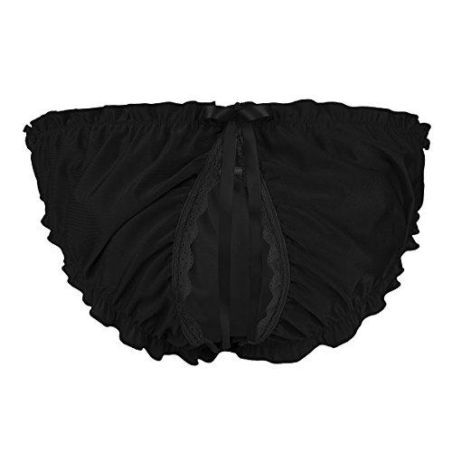 9f457a129fe iiniim Men s Maid Sissy Bikini Briefs Low Waist Panties Open Back Soft  Underwear