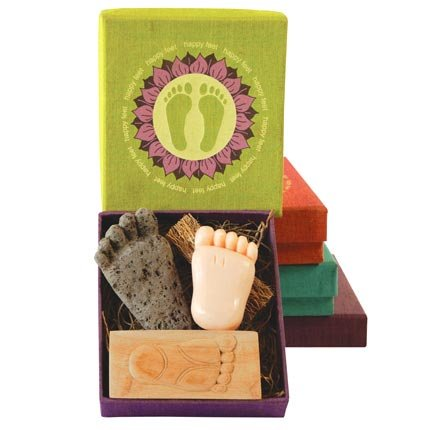 Fair Trade Gift Set - Happy Feet Pumice Stone, Foot Brush and Soap by Connected Fair Trade Products