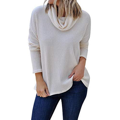 (Cenglings Women Casual Cowl Neck Long Sleeve Solid Shirt Turtleneck Sweater Blouse Top Pullover Plus Size Loose Knit Tops White)
