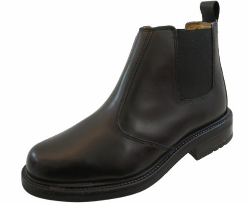 d0eb1fc0f11fa Mens Leather Leather Chelsea Boots with rubber sole BLACK Size 9 UK   Amazon.co.uk  Shoes   Bags
