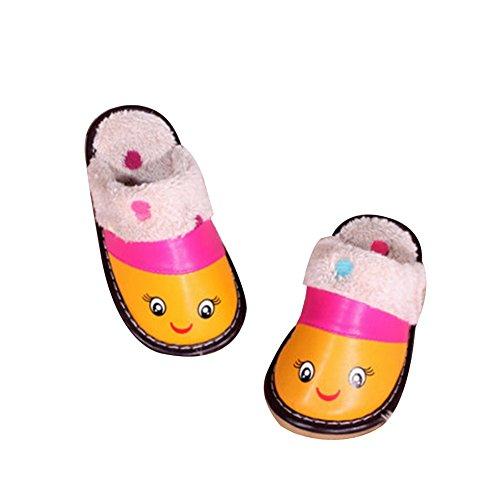 TELLW jungen und M?dchen Kinder Leder Pantoffeln Ziege Lint Pantoffeln Home rutschfeste warme Gummiboden Winter Baby Rose
