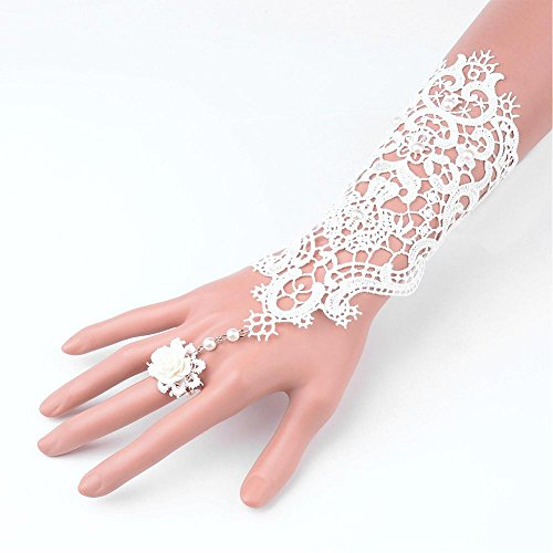 - FASHEWELRY Elegant Bridal Lace Bracelet Beaded Embroidered White Lace Flower Fingerless Glove Wrist Cuff Bracelet with Ring Set
