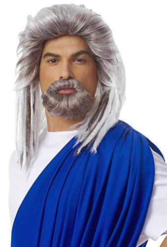 Costume Culture Men's King Of The Sea Wig and Beard Set Deluxe, Grey, One Size