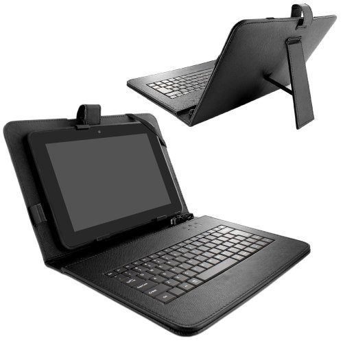 Skque Universal Leather Case Cover Stand with Micro Cable Keyboard for 10 Inch Tablets, Black -  SK-178694