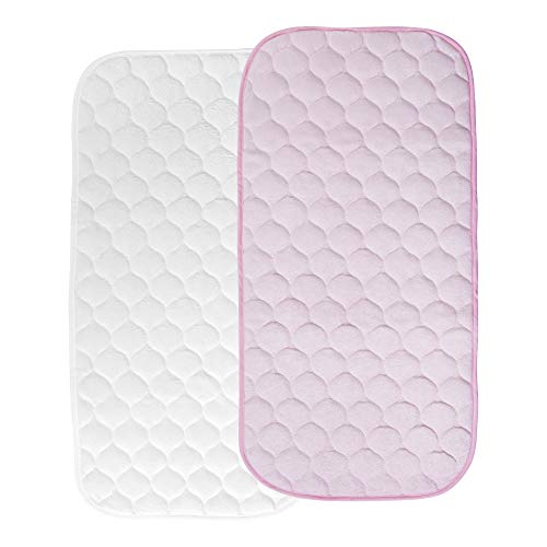 Changing Pad Liners Waterproof Quilted Bamboo Changing Table Cover Liner Washable & Reusable Travel Pads 2 Count by YOOFOSS