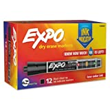 EXPO(R) Ink Indicator Dry-Erase Markers, Chisel Tip, Black, Box of 12