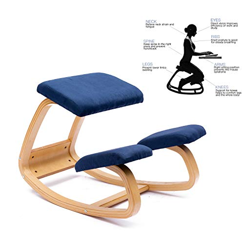 ENMSPLUS Sillas ergonomicas de Rodillas Grande Home Office Silla de Escritorio-Colores multiples (Gamuza Azul)