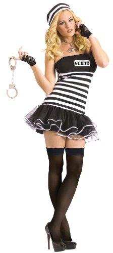 FunWorld Women's Guilty Conscience Adult Costume, Black/White, (Guilty Conscience Costume)