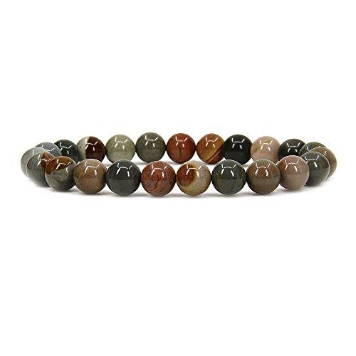 Amandastone Natural Polychrome Jasper Gemstone 8mm Round Beads Stretch Bracelet 7