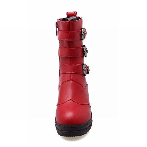Boots Red Carolbar Wedge Mid Short Zip Westernmode Frauen Heel qqwFgSvB