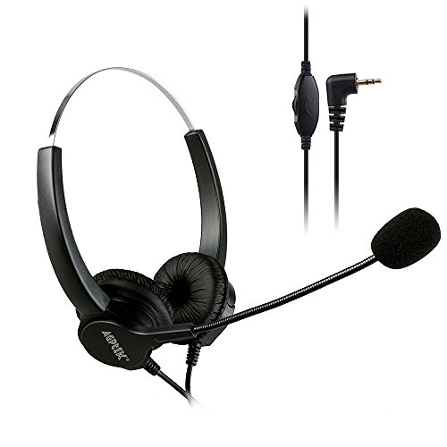 AGPtEK 2.5mm Dual Ear Call Center Telephone Headphone, 6FT Noise Cancelling Binaural Headset, with Boom-Style Mic for Most Cordless Phones