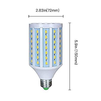 MD Lighting 25W E27 LED Corn Light Bulbs(2 Pack)- 98 LEDs 5730 SMD 2500lm COB Light Lamp Ultra Bright Daylight White 6000K LED Bulb 200 Watt Equivalent for Backyard Basement Barn Large Area,85V-265V