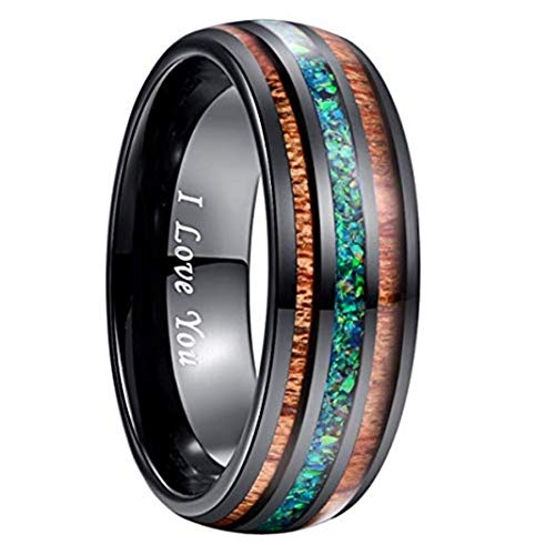 NUNCAD 8mm Genuine Crushed Marine Opal Inlay Tungsten Promise Ring Engraved I Love You Size 6