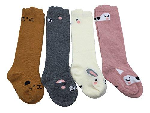 Cherion Unisex Baby Girls Socks,4 Pairs Toddler Boy Animal Knee High Socks (M(1-3 years))