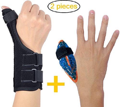 (BodyMoves Thumb Splint Brace Plus Finger Hot and Cold Gel Pack- for de quervain's tenosynovitis, Tendonitis, Trigger Thumb spica,Carpal Tunnel, CMC Adjustable wrist and Reversible(Left and Right Hand) )