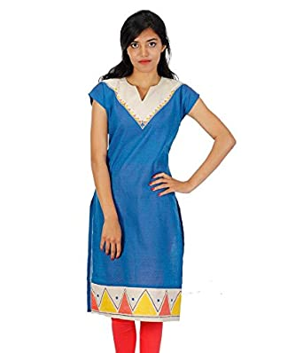 4098730b1a HastaVarna Designer Hand Painted Kurtis Collections: Amazon.in: Clothing &  Accessories
