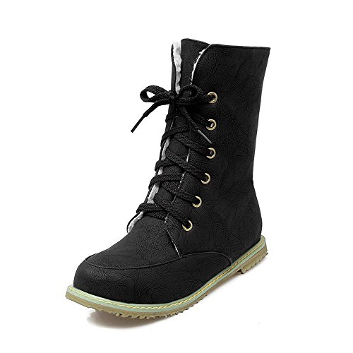 AgooLar Women's Soft Material Lace-up Round Closed Toe Low-Heels Low-Top Boots Black hPBUYm