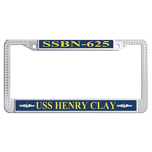 Hensteelna U.S. Navy Naval Vessel Bling Diamond Car Tag Frame USS Henry Clay SSBN-625 Shining Rhinestones Car Plate Frame(White,1 pic, 6' x 12' - Clay Uss Henry