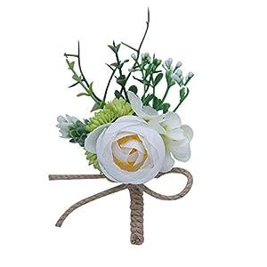 Cupcinu Rose Wrist Corsage Bracelet and Boutonniere Set Handmade Decoration Bouquets Rhinestone Ribbon Flower Wedding Bouquet Prom Ivory 1Pcs(Peacock Blue) 13