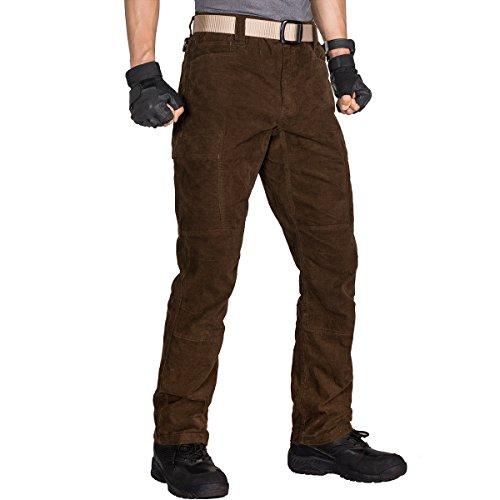 - FREE SOLDIER Men's Tactical Corduroy Pants Expandable Waist Multi Pocket Cords Pants(Brown XXL)
