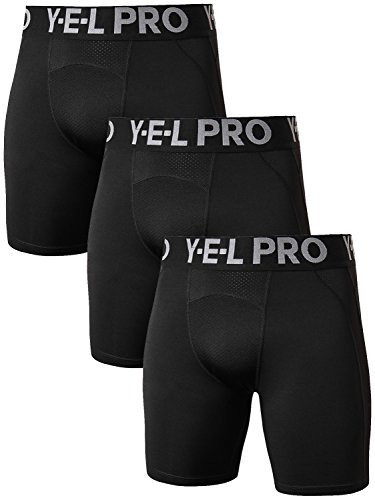 Yuerlian Men's 3 Pack Compression Shorts Baselayer Cool Dry Sports Tights