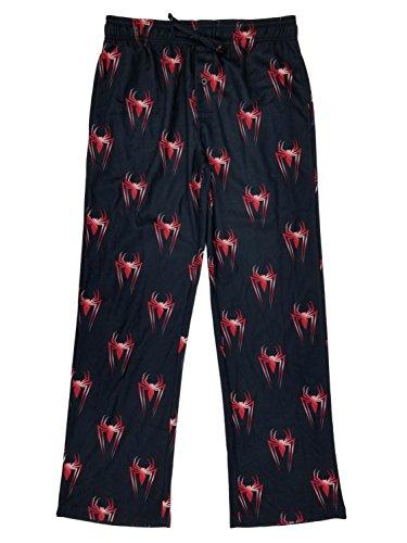 Marvel Spider-Man Mens Black/Red Flannel Sleep Pants Pajama Bottoms 2XL