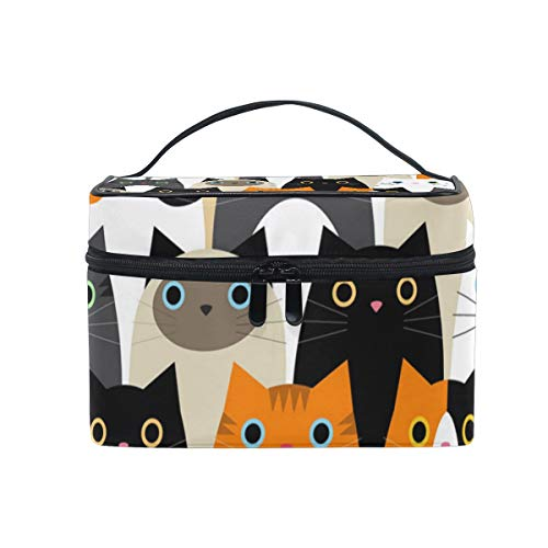 Makeup Bag Cats Cute Cosmetic Case Portable Carry Travel Toiletry Bag Toiletry Bags for Womens Storage -