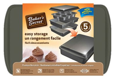 Bakers Secret 1111410 Easy Store Bakeware Set44; 5 Piece