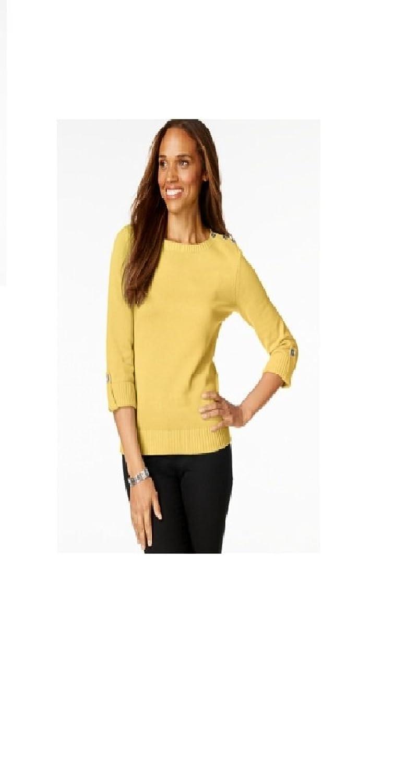 Karen Scott Lemon Womens Medium Crewneck Sweater