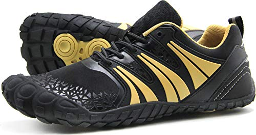 Oranginer Men's Minimalist Barefoot Shoes Big Toe Box Casual Shoes for Men Black/Gold Size 12