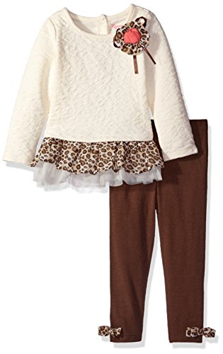 Nannette Little Girls' Toddler 2 Piece Novelty Legging Set with a Tacked on Flower, White, 4T