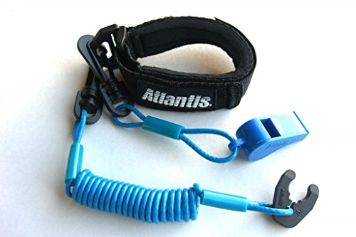 Atlantis A2102PFW Floating Whistle Lanyard Pro Black/Light Blue Kawasaki Honda Polaris Wet Jet Tiger Shark