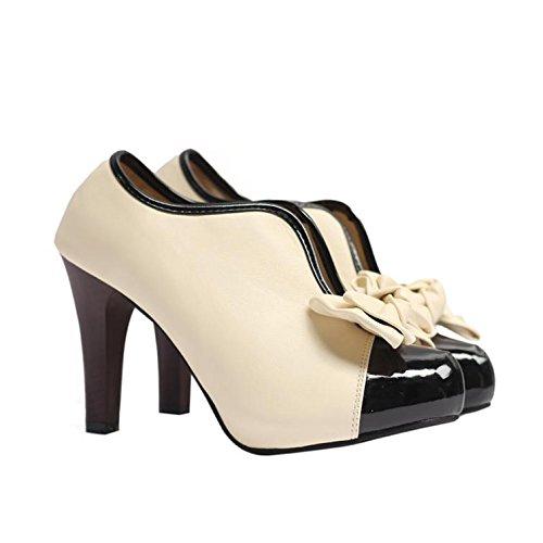 LvYuan-mxx Botas desnudas de las mujeres / caída del verano de la primavera / ocasional Sencilla / talones de estilete / dedo del pie redondo Bowknot Cuero / oficina y vestido de la carrera / altos ta 39-APRICOTBE