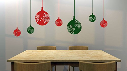 "Set of (7) 11"" and 4"" Snowflake Decorative Ornaments Removable Vinyl Decal - Perfect Holiday and Christmas stickers for Walls, Windows, Storefronts, and Offices - Red and Green"