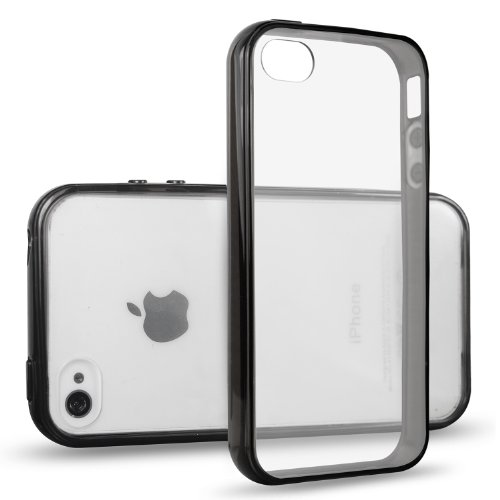 iPhone 4s Case, JETech iPhone 4 4s Case Bumper Shock-Absorption Bumper and Anti-Scratch Clear Back for Apple iPhone 4/4s (Black) - 0511 (Iphone 4 Bumper Clear)