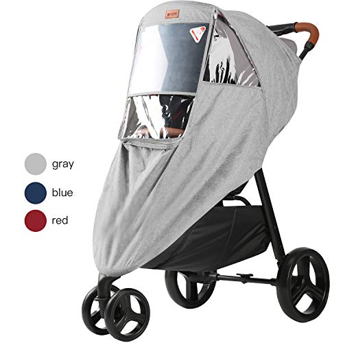 GOOVI Universal Rain Cover Waterproof PVC Free Full Protection Travel-Friendly Breathable Stroller Weather Shield-Gray