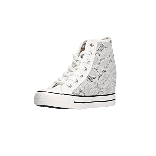 Canvas Shoes Caf Wedge Woman Sneakers DG924 White Noir Glitter Mid Bianco FwxtzqAa