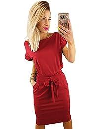 Women's Elegant Short Sleeve Wear to Work Casual Pencil Dress Belt
