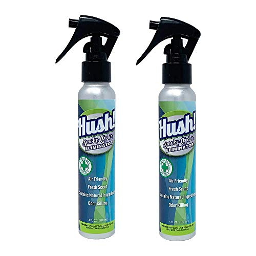 Hush! Smoke Eliminator, 2-4 OZ Bottles, Travel Size, Works ON Tobacco, Weed, Pot OR Cannabis Smoke Odors - Dorm Room, Apartment, Home, CAR, Office