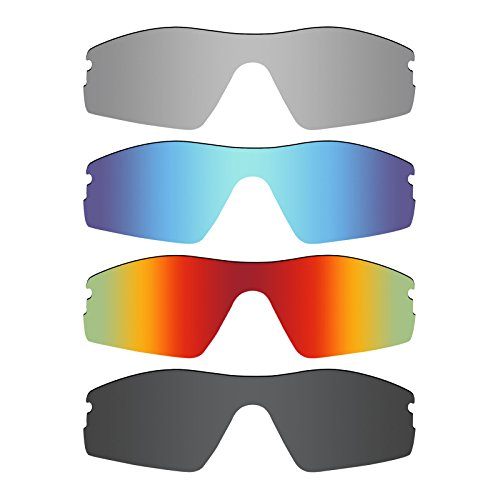 Mryok 4 Pair Polarized Replacement Lenses for Oakley Radar Pitch Sunglass - Stealth Black/Fire Red/Ice Blue/Silver - Radar Lenses Pitch