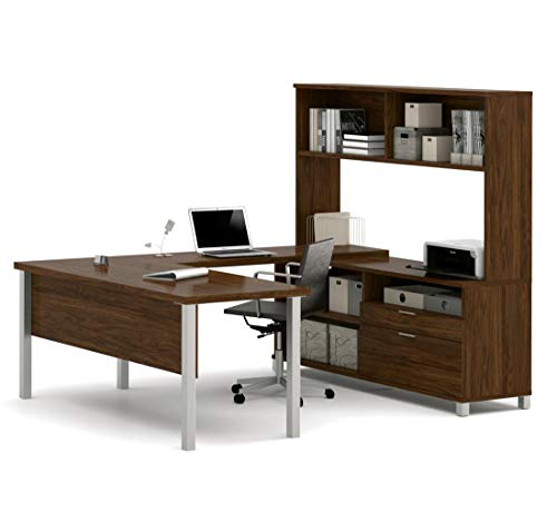 Cheap Bestar Pro-Linea U-Desk with Hutch, Oak Barrel