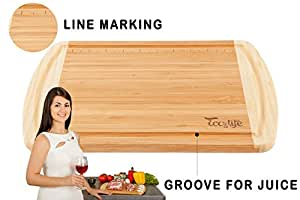 Eco&Life Bamboo Cutting Board with Groove - Professional Grade Cutting Board Features Engraved Measurements For Meat and Veggie Prep Fine Cuts - Perfect Size, Thick, Eco-Friendly (Extra large)
