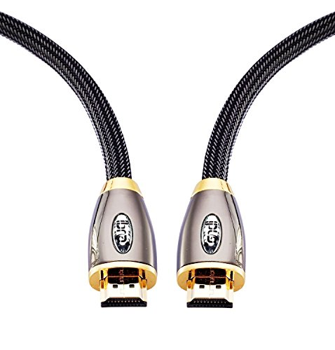 HDMI Cable 12ft - HDMI 2.0 (4K) Ready - 18Gbps- 28AWG Braided Cord  -Gold Plated Connectors - Ethernet, Audio Return - Video 4K 2160p, HD 1080p, 3D - Xbox PlayStation PS3 PS4 PC Apple TV - IBRA RED