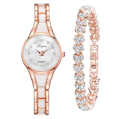 WUAI Women's Watches Gifts Set Ultra Thin Minimalist Quartz Watches with Bracelet Fashion Jewelry Set ()