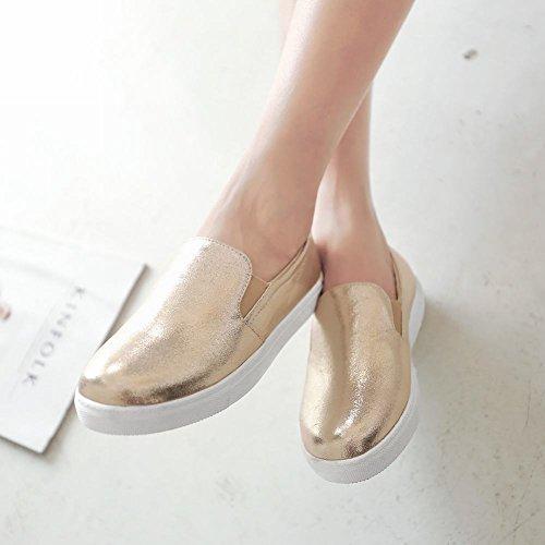 Carolbar Donna Moda Lucida Polsino Street Casual Semplice Comfort Flats Scarpe Oro