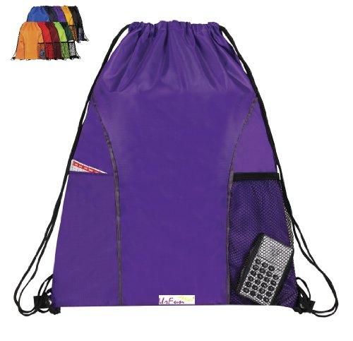 Urfunbag Dual Pocket Drawstring Nylon Backpack (Purple)