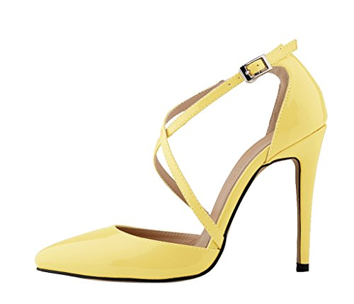 Shoes Women's Toe Cross Patent PU Elegant Yellow Pumps Stiletto Dress Pointed Heel High Strap xwCSxf