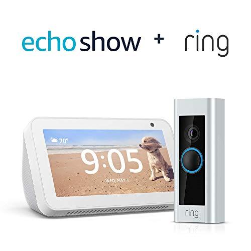 Certified Refurbished Ring Video Doorbell Pro with Certified Refurbished Echo Show 5 (Sandstone)