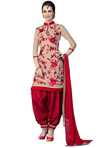 DivyaEmporio-Womens-Faux-Crepe-Beige-and-Red-Salwar-Suit-Dress-Material