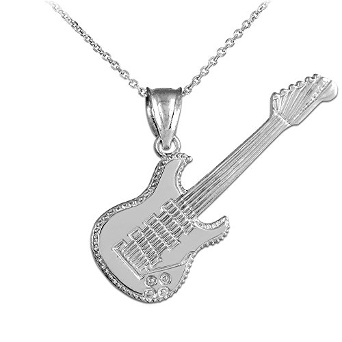 Solid 14k White Gold Music Charm Electric Guitar Pendant Necklace, 22